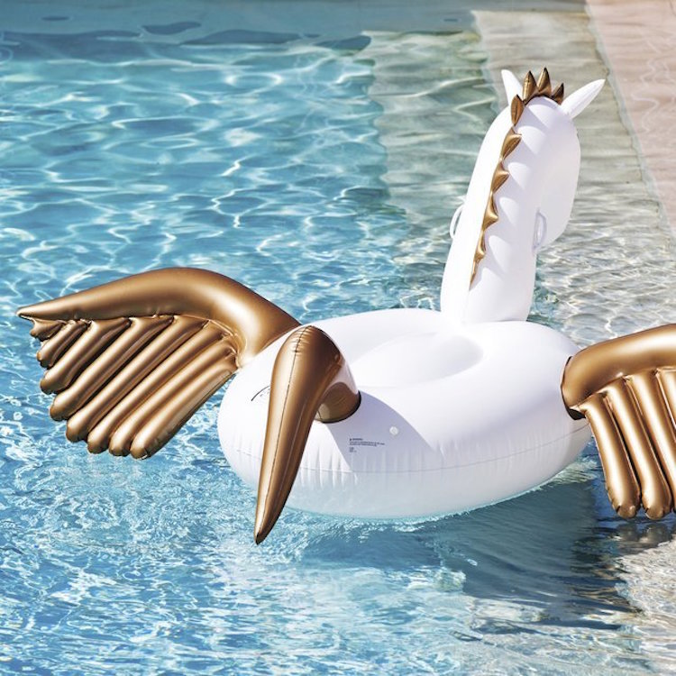 Zwembad speelgoed pegasus paard gouden vleugels