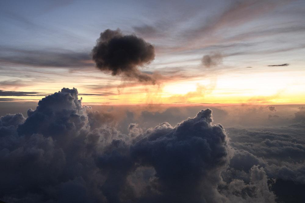 acatenango volcano zonsondergang