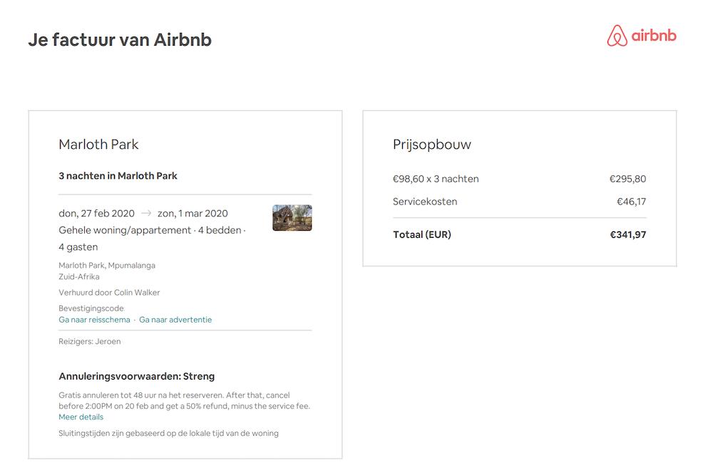 airbnb servicekosten terugvragen
