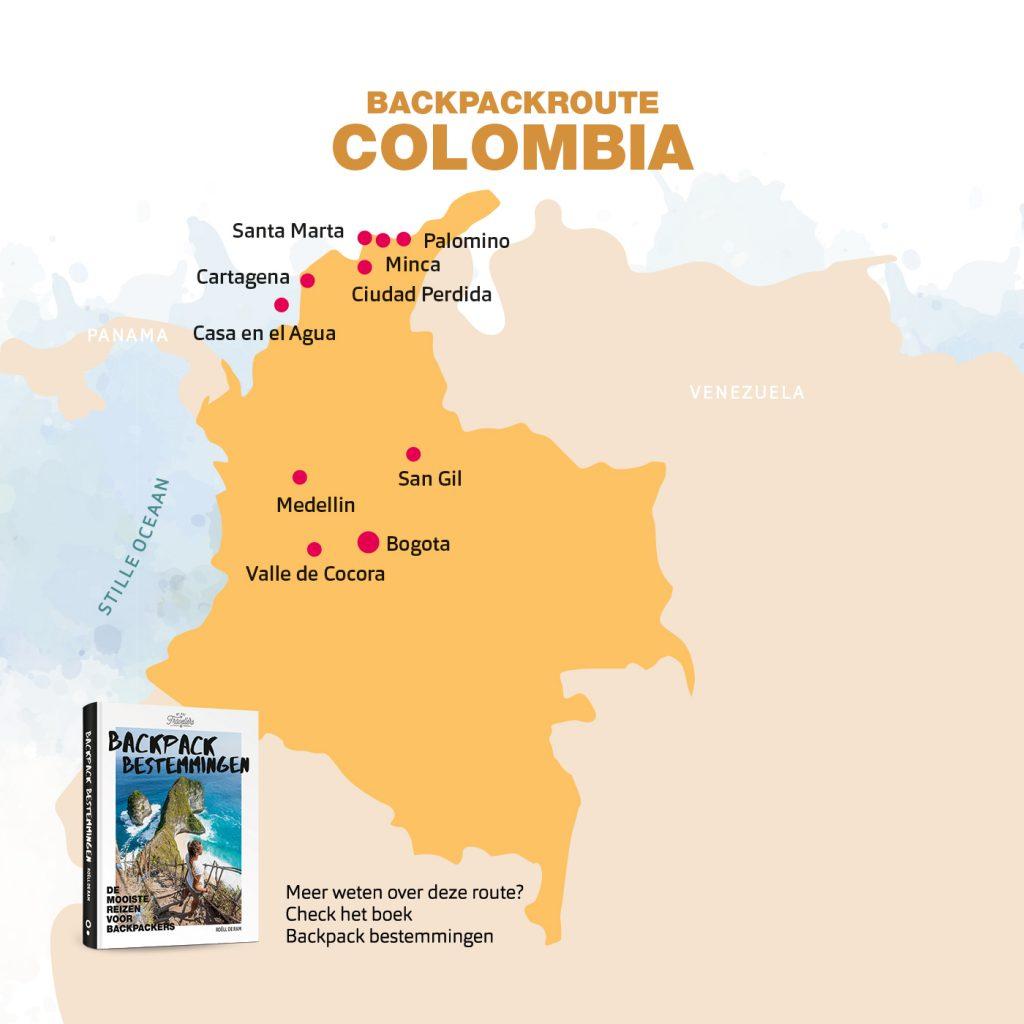 backpack route Colombia boek backpack bestemmingen
