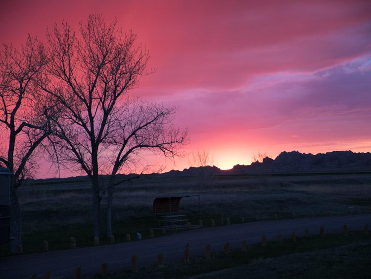badlands np zonsondergang