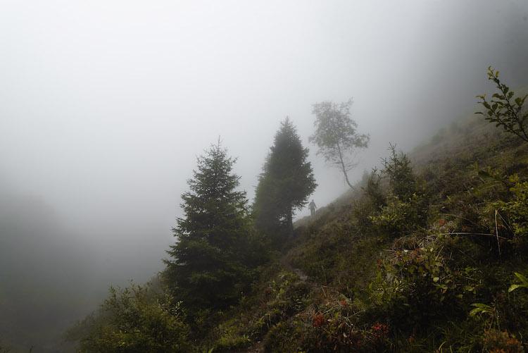 bergen in montafon mistig