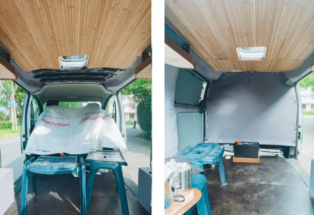 camper inrichten plafond maken zelfbouw