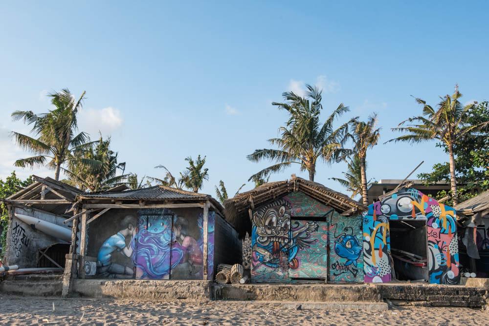 canggu vissershuisjes streetart