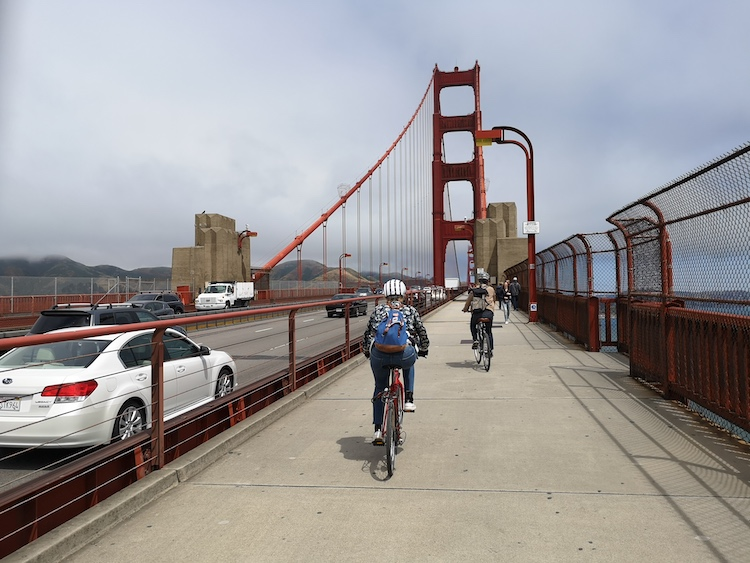 fietsen in san francisco over golden gate