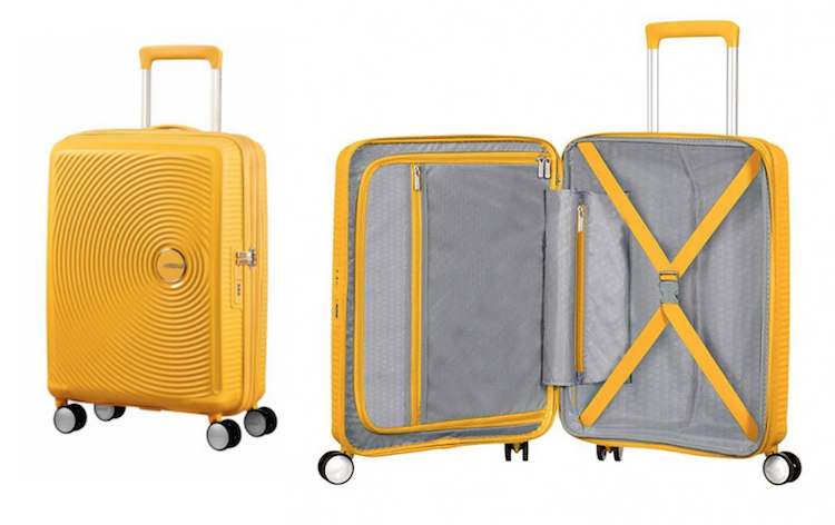 handbagage koffer American Tourister Soundbox Spinner 55 golden yellow