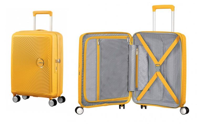 88f76c495b1 handbagage koffer American Tourister Soundbox Spinner 55 golden yellow