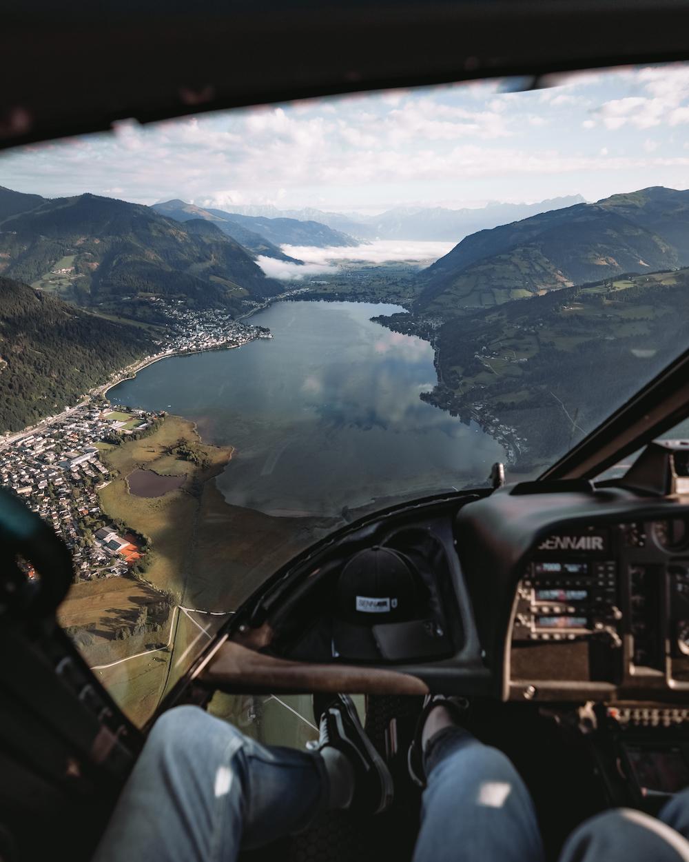 lake zell vanuit de helicopter