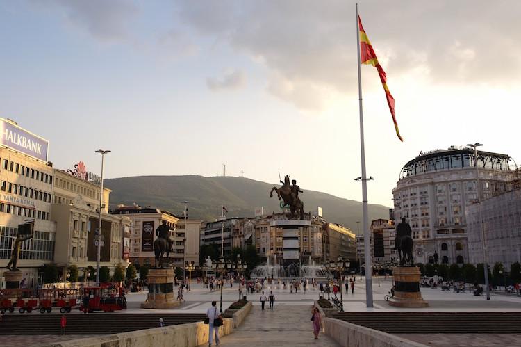 macedonie Skopje Stadscentrum Alexander de Groote Standbeeld