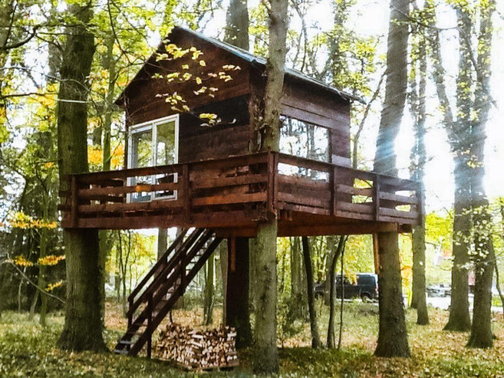slapen in het Bos hut boshuis