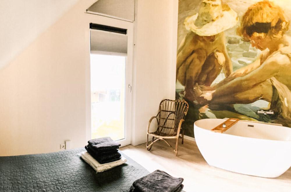 strandhotel terschelling Plein 40 Lodges badkamer-slaapkamer