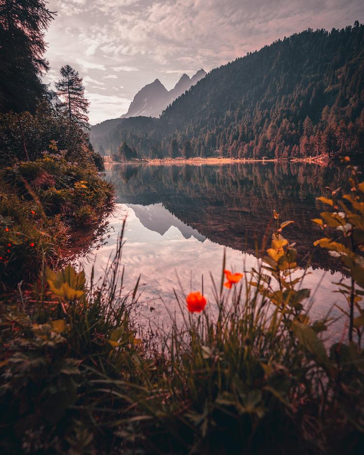uitzicht in graubunden in zwitserland