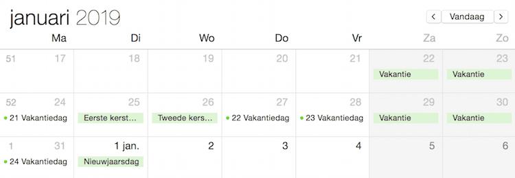 vakantiedagen in 2018
