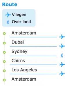 wereldreisroute simple one