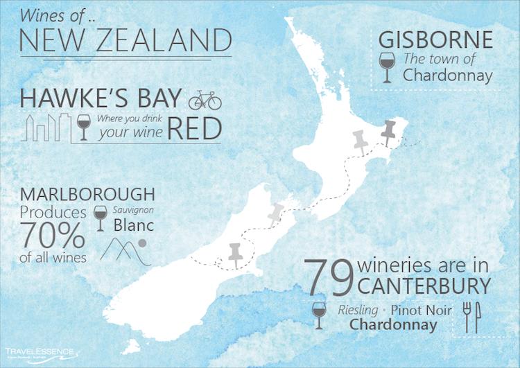 wijngebieden nieuw zeeland kaart Infographic
