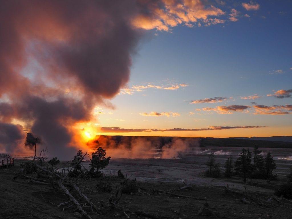 yellowstone national park zonsondergang rondreis