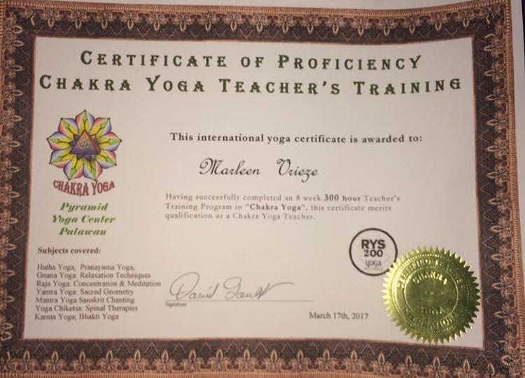 yoga teacher training certificaat chakra yoga